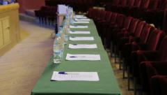 Table for the jury commission Stock Footage
