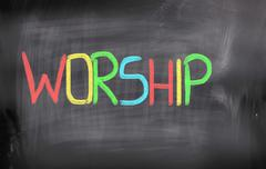 worship concept - stock illustration