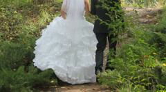 Pair of Lovers Bride and Groom Climbing Up the Hill - stock footage