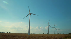 Wind turbines producing renewable energy, 1920 x 1080 HD - stock footage