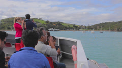 Boat passengers get georgeous first view of beautiful Waiheke Island from boat Stock Footage