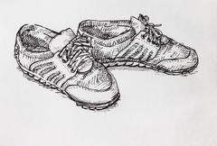 Stock Illustration of hand drawing a pair of shoe