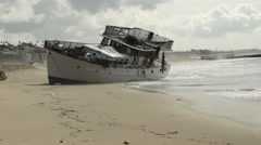 Boat Runs Aground Stock Footage