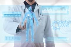 Male doctor working on a futuristic touchscreen display Stock Illustration