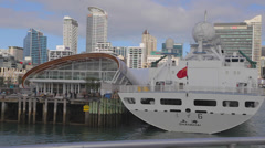 Georgeous day - view of auckland downtown including sky tower from boat Stock Footage