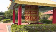 Beautiful  buddhist prayer wheel in Lumbini, Nepal Stock Footage