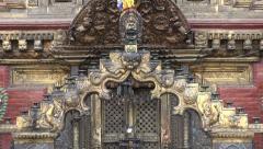Historical ornate  buddhist temple door in Katmandu, Nepal Stock Footage