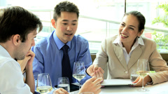 Ambitious Multi Ethnic Advertising Executives Restaurant Meeting Stock Footage