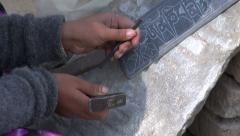 Craftsman working on stone, Katmandu, Nepal Stock Footage