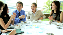 Male Female Multi Ethnic Business People Working Lunch Stock Footage