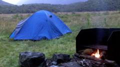Campsite in Fiordland New Zealand Stock Footage