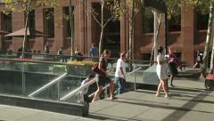 commuters walk to work at martin place, sydney, australia - stock footage