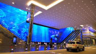 Stock Video Footage of Asia Singapore Suntec City main entrance huge monitor