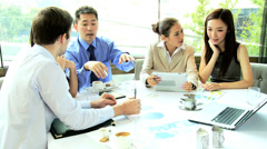 Working Lunch Caucasian Consultant Ethnic Business People Stock Footage