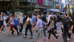 Commuters cross george street to walk to work, sydney, australia Stock Footage