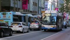 Rush hour traffic on george street, sydney, australia Stock Footage