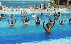 Swimming pool exercises, Mexico Stock Photos
