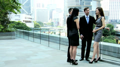 Outdoor Meeting Male Female Asian Chinese Caucasian Business Team Stock Footage