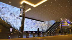 Asia Singapore Suntec City main entrance huge monitor Stock Footage