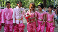 Wedding. National clothes.Cambodia Stock Footage