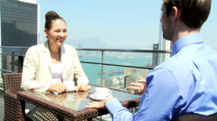 Caucasian Business People Outdoors Meeting Cityscape Background Stock Footage
