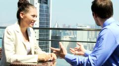 Stock Video Footage of Ambitious Team Business Associates Rooftop Restaurant Meeting