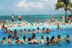 Pool exercises, Mexico Stock Photos