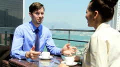 Ambitious Team Business Associates Rooftop Restaurant Meeting Stock Footage