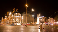 Stock Video Footage of Dam Square at night. Amsterdam, The Netherlands. Time Lapse.