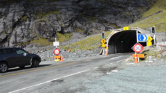 Homer Tunnel in Fiordland, New Zealand Stock Footage