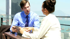 Caucasian Corporate Business Partners Wireless Tablet Meeting - stock footage