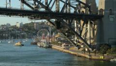 Sydney ferry, harbour bridge, australia Stock Footage