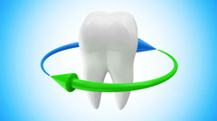 Animation of Tooth Rotation with Arrows on different backgrounds Stock Footage