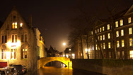 Stock Video Footage of Bruges (Brugge) canal in the evening, Belgium. Time Lapse.