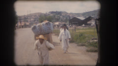 Old home movie South Korea street scene 1950s Stock Footage