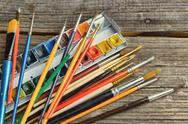 Stock Photo of artist brushes and paints