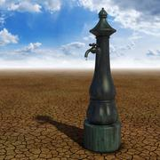 Desert fountain - stock illustration