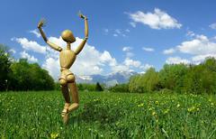 Happy mannequin Stock Illustration