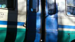 Closing sliding doors; train doors; coach,station, train Stock Footage