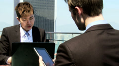 Multi Ethnic Corporate Business Partners Wireless Tablet Meeting Stock Footage