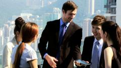 Multi Ethnic Corporate Business Partners Wireless Tablet Meeting - stock footage