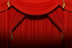 Red stage theater velvet drapes Stock Illustration