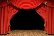 Stock Illustration of Red stage theater velvet drapes