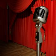 Red stage theater drapes and microphone Stock Illustration