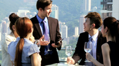 Young Team Male Female Multi Ethnic Business People Rooftop Meeting Stock Footage