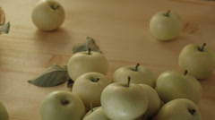 Still life with apples on wooden table in basket. V.1 Stock Footage
