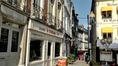 Europe France Normandy fishing village of Honfleur 030 view into an old alley Stock Footage