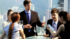 Group Young Multi Ethnic Advertising Executives Rooftop Restaurant Stock Footage