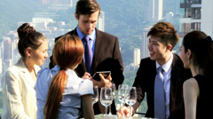 Confident Multi Ethnic Share Brokers Tablet Office Rooftop Meeting Stock Footage