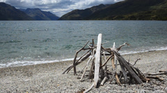 Landscape of lake Wakatipu, South Island, New Zealand Stock Footage